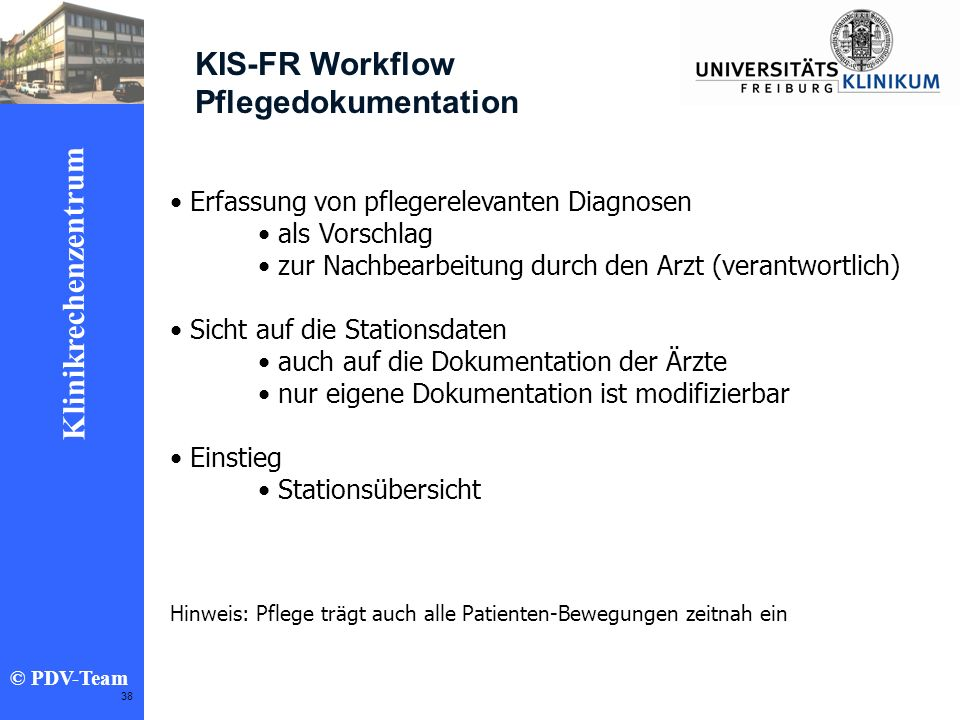 KIS-FR Workflow Pflegedokumentation