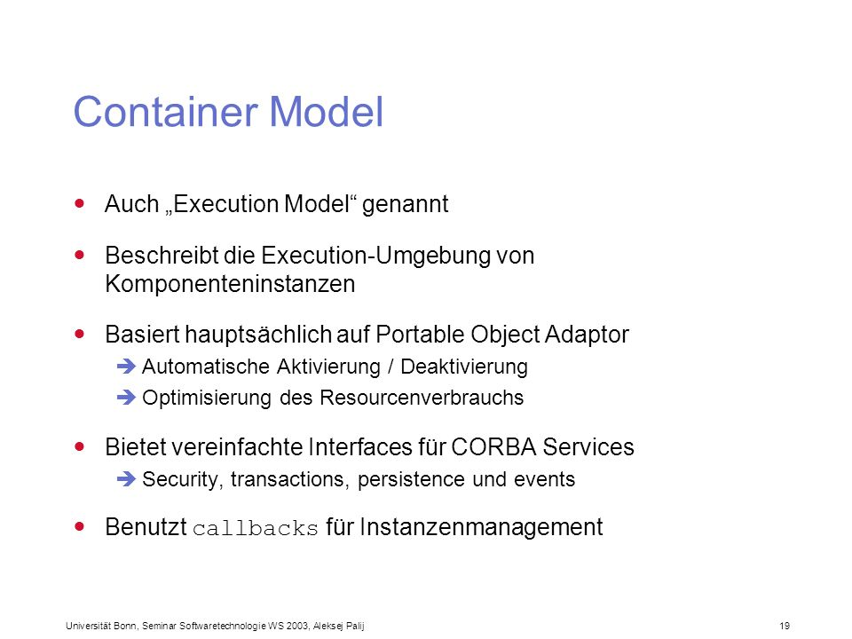 "Container Model Auch ""Execution Model genannt"
