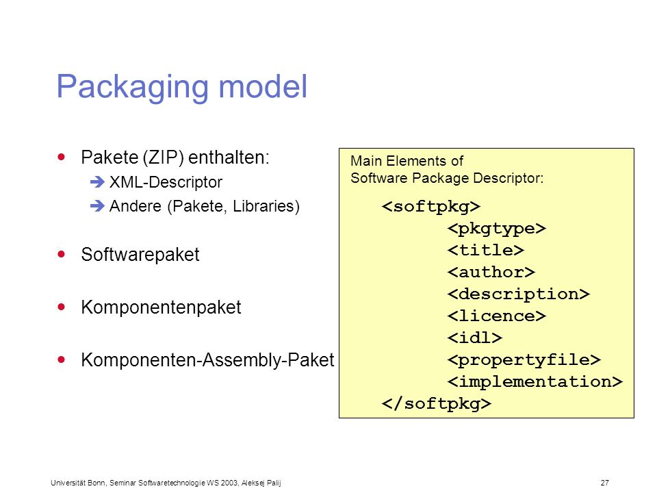 Packaging model Pakete (ZIP) enthalten: Softwarepaket <softpkg>