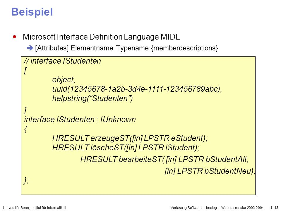 Beispiel Microsoft Interface Definition Language MIDL