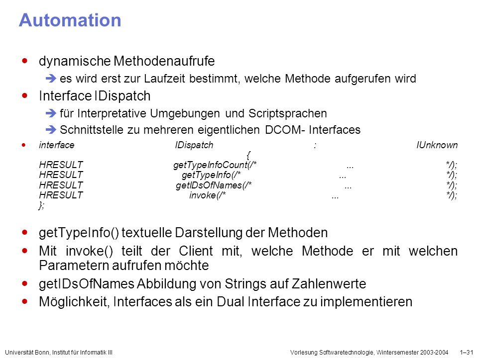 Automation dynamische Methodenaufrufe Interface IDispatch