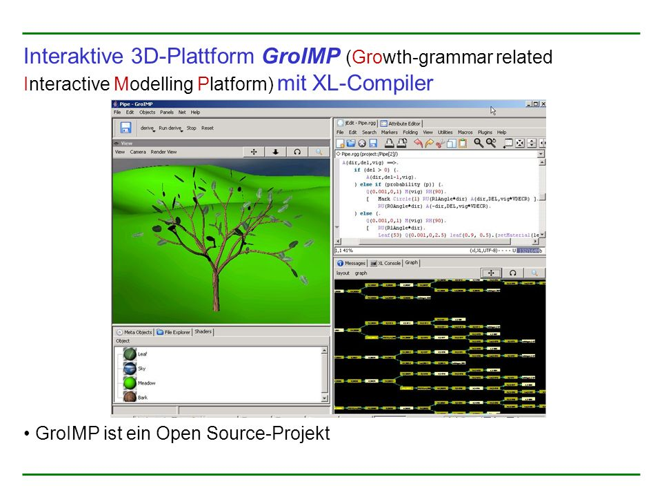 Interaktive 3D-Plattform GroIMP (Growth-grammar related Interactive Modelling Platform) mit XL-Compiler