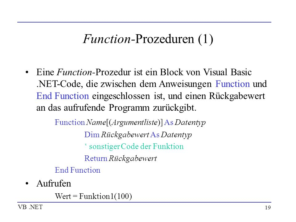 Function-Prozeduren (1)