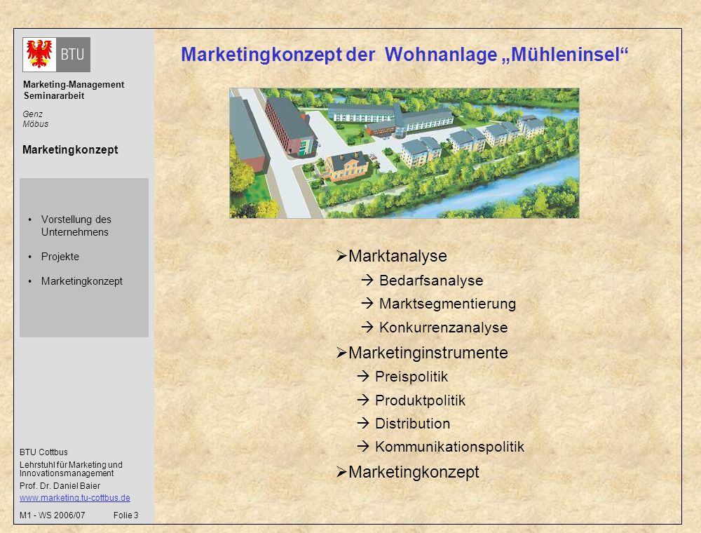 "Marketingkonzept der Wohnanlage ""Mühleninsel"