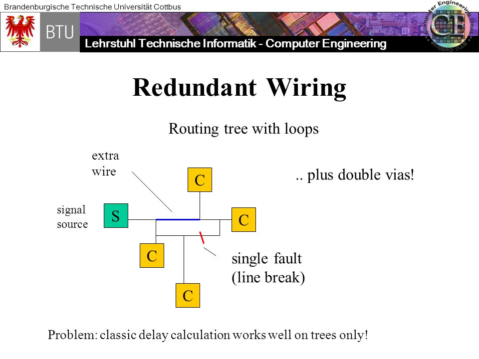 Redundant Wiring Routing tree with loops .. plus double vias! C S C C