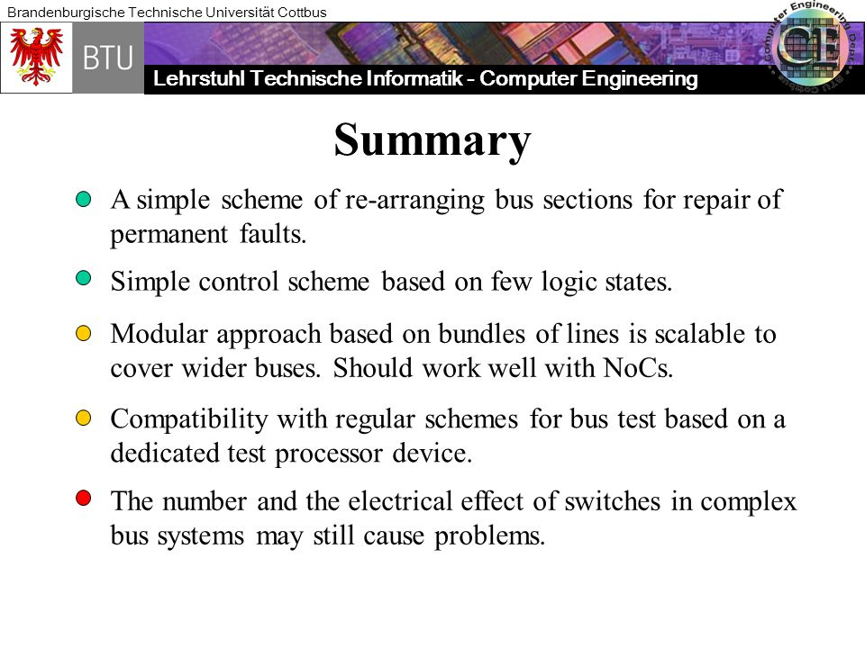 Summary A simple scheme of re-arranging bus sections for repair of