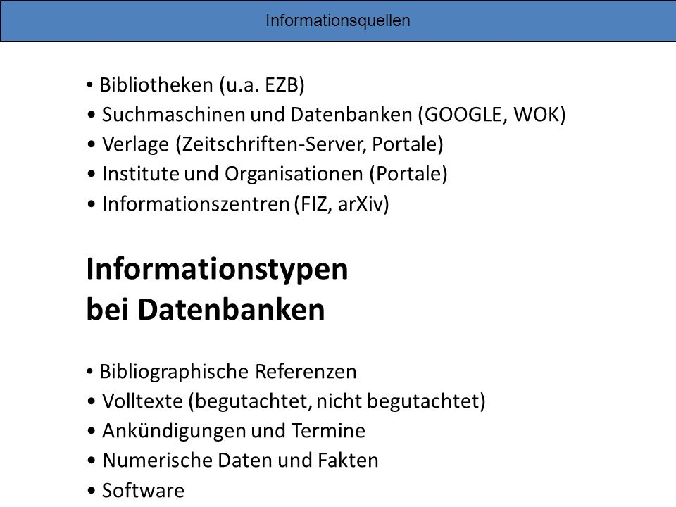 Informationstypen bei Datenbanken