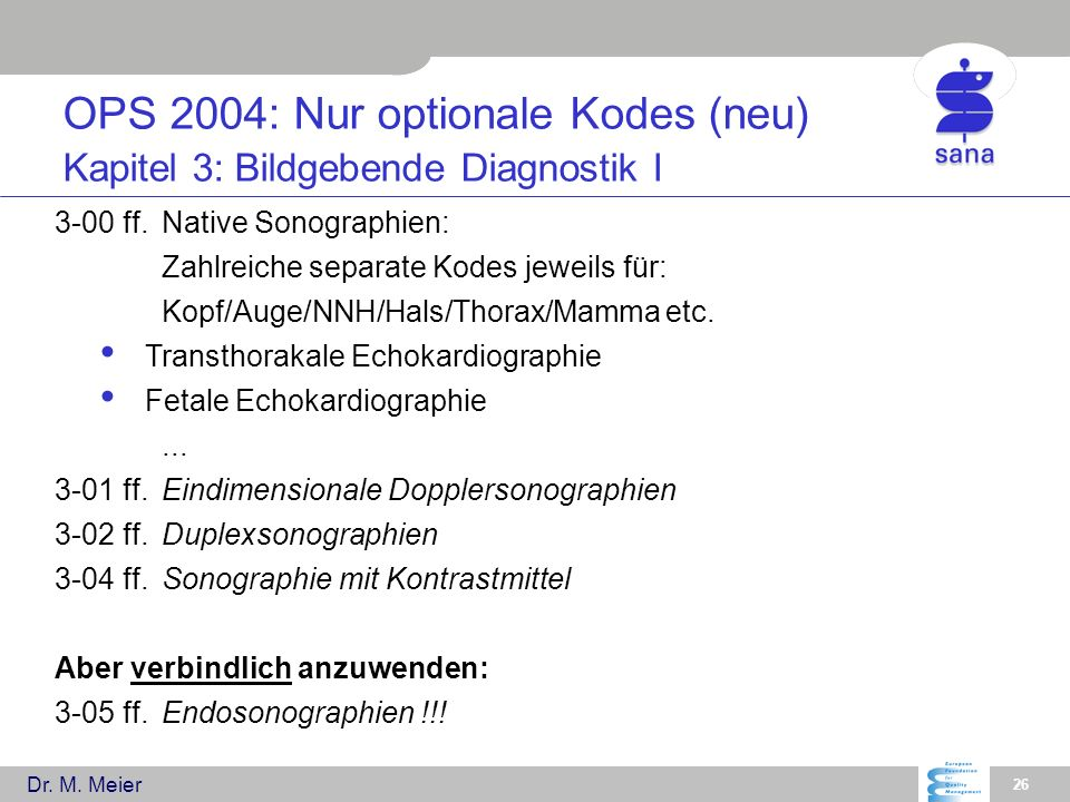 OPS 2004: Nur optionale Kodes (neu) Kapitel 3: Bildgebende Diagnostik I