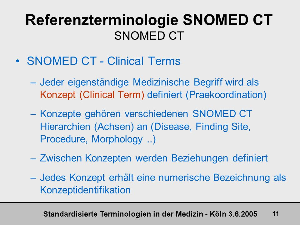 Referenzterminologie SNOMED CT SNOMED CT