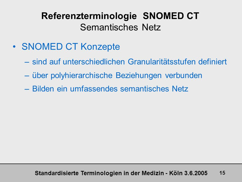 Referenzterminologie SNOMED CT Semantisches Netz