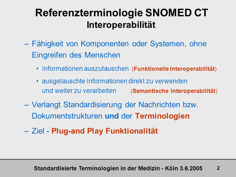 Referenzterminologie SNOMED CT Interoperabilität