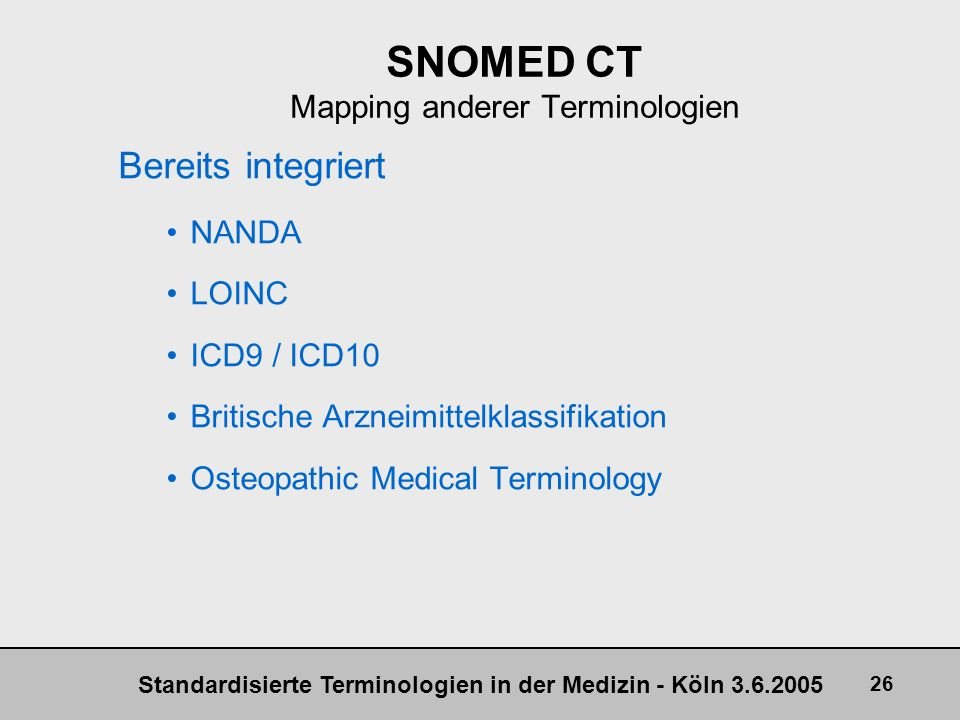 SNOMED CT Mapping anderer Terminologien