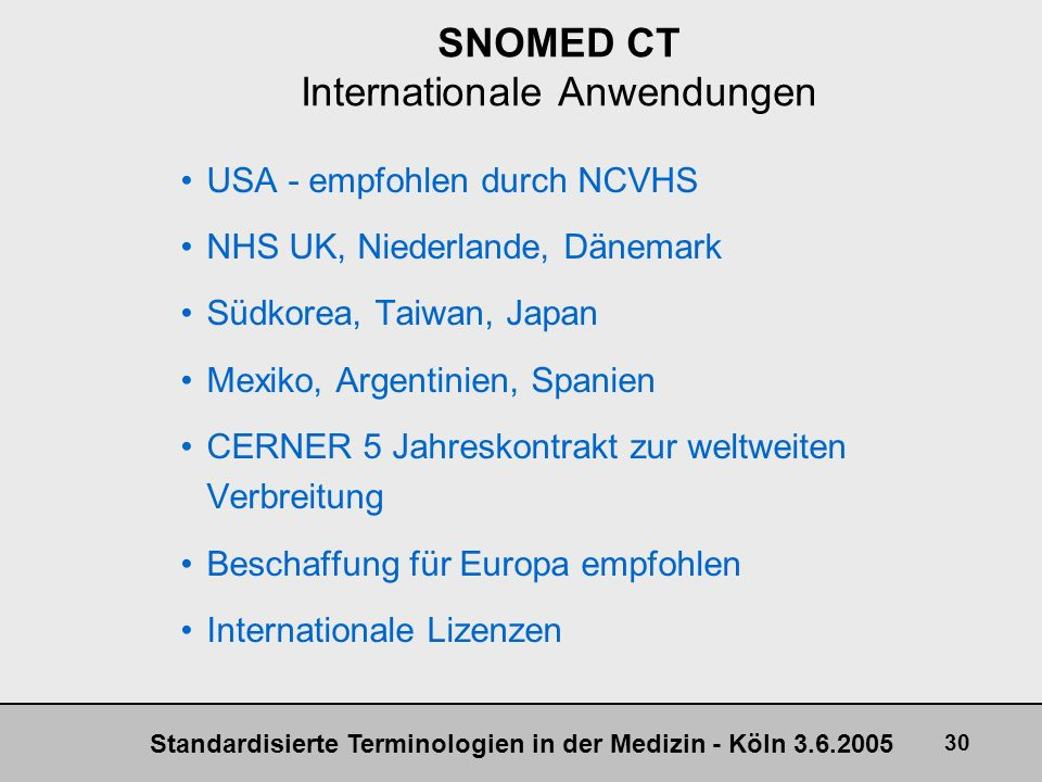 SNOMED CT Internationale Anwendungen