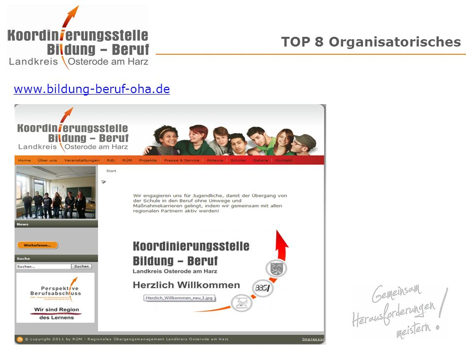 TOP 8 Organisatorisches