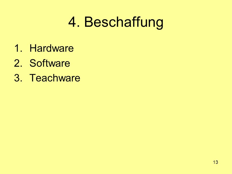 4. Beschaffung Hardware Software Teachware
