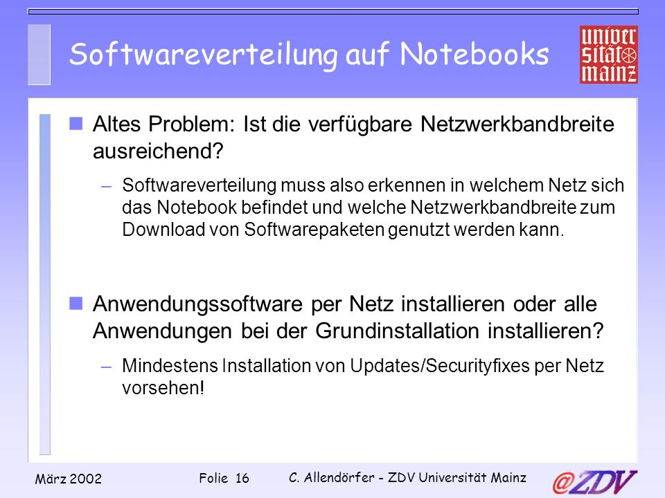 Softwareverteilung auf Notebooks