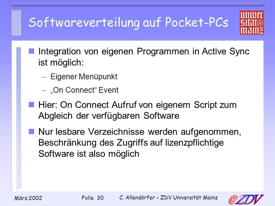 Softwareverteilung auf Pocket-PCs