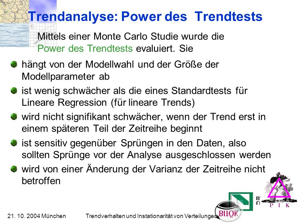 Trendanalyse: Power des Trendtests