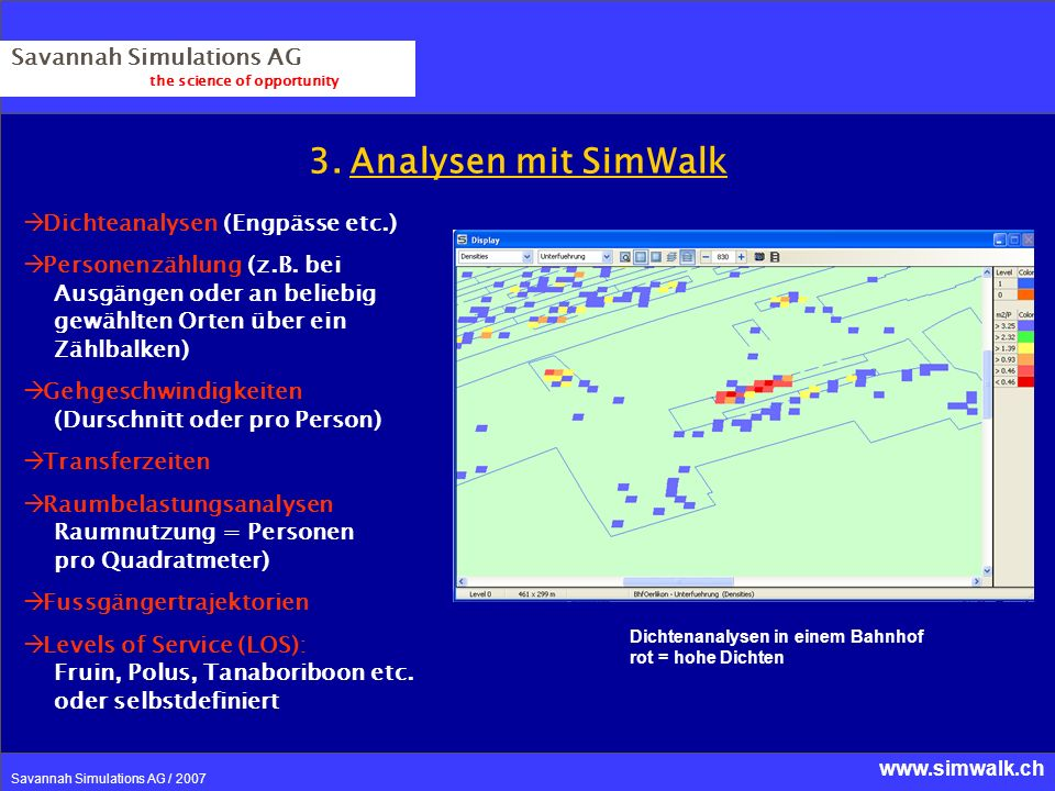 3. Analysen mit SimWalk Savannah Simulations AG