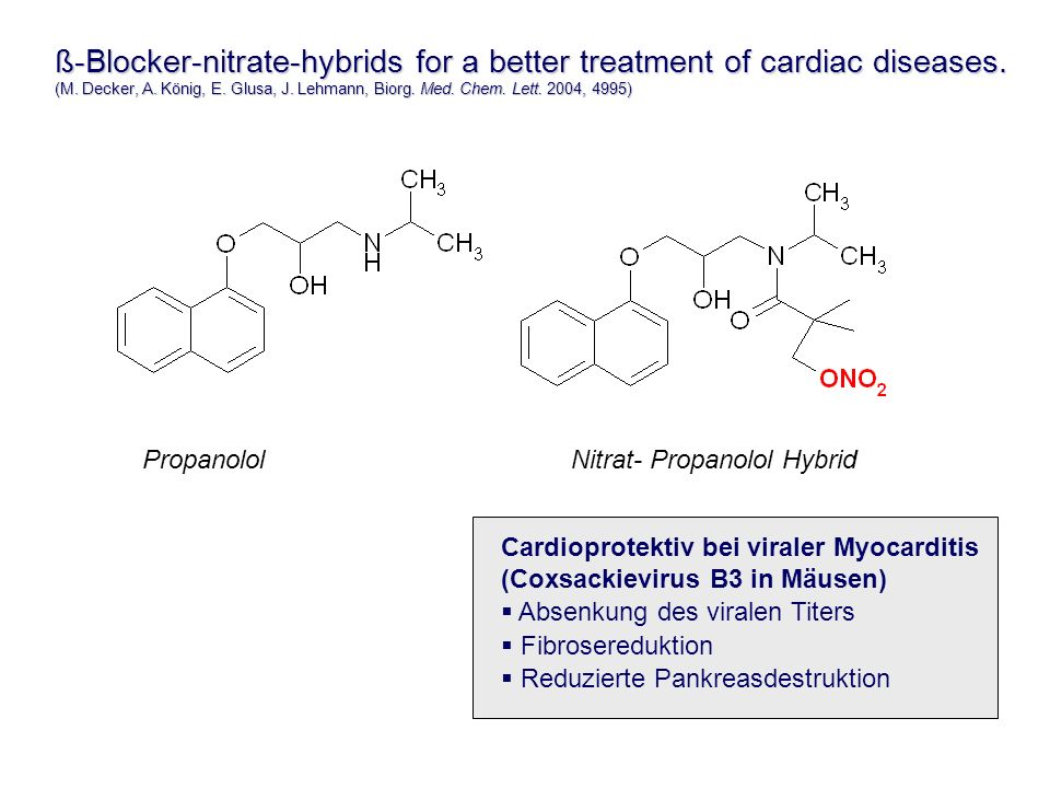 ß-Blocker-nitrate-hybrids for a better treatment of cardiac diseases.