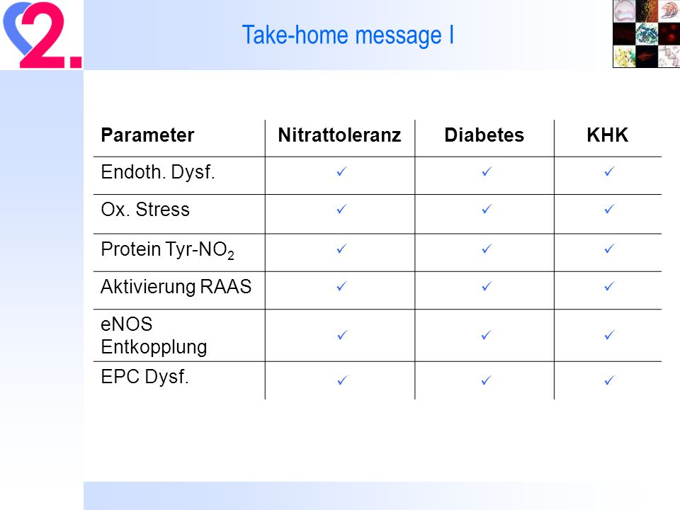 Take-home message I Parameter Nitrattoleranz Diabetes KHK