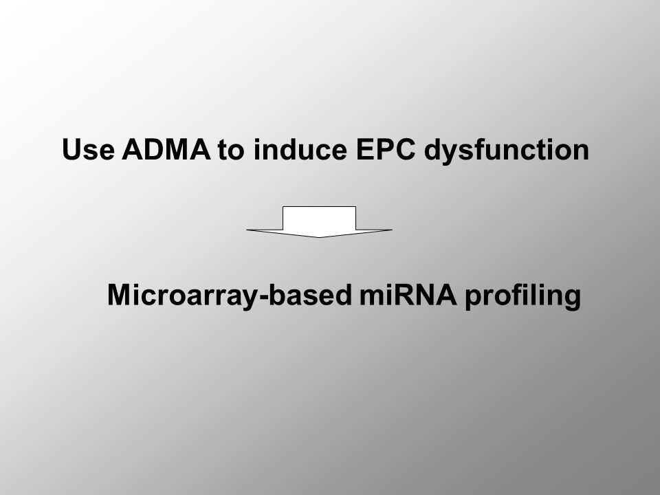 Use ADMA to induce EPC dysfunction