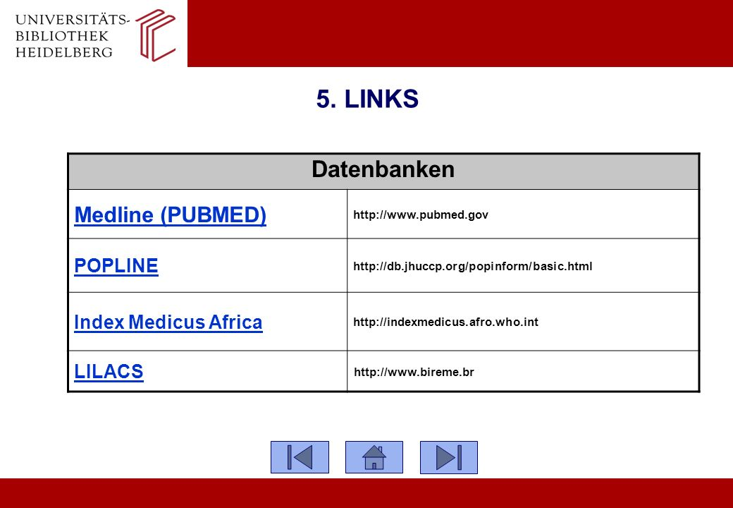 5. LINKS Datenbanken Medline (PUBMED) POPLINE Index Medicus Africa