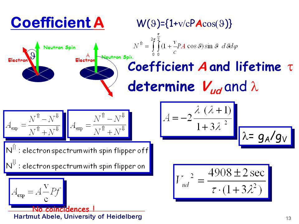 Coefficient A determine Vud and l Coefficient A and lifetime t