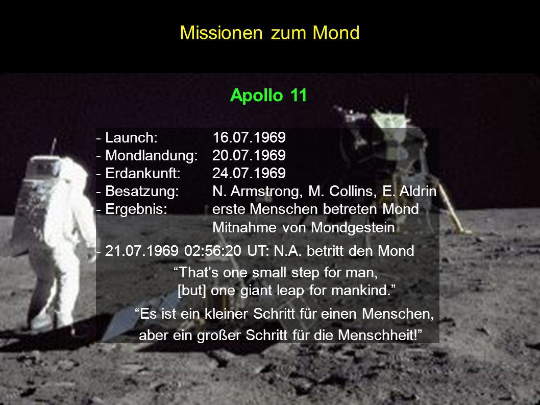 Missionen zum Mond Apollo 11 - Launch: 16.07.1969
