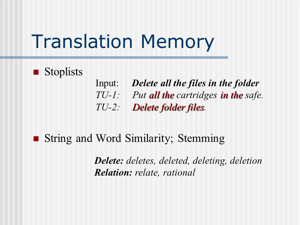 Translation Memory Stoplists String and Word Similarity; Stemming