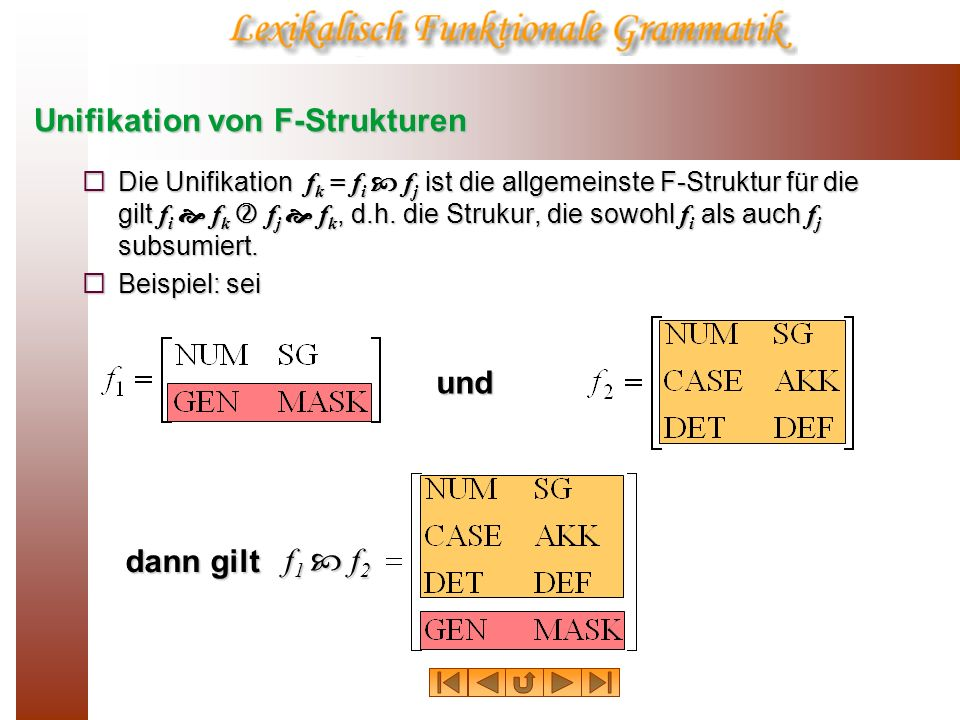 Unifikation von F-Strukturen