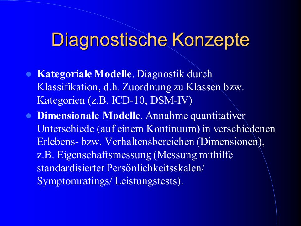 Diagnostische Konzepte