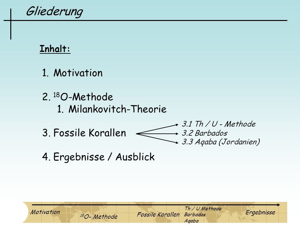 Gliederung Motivation 18O-Methode Milankovitch-Theorie