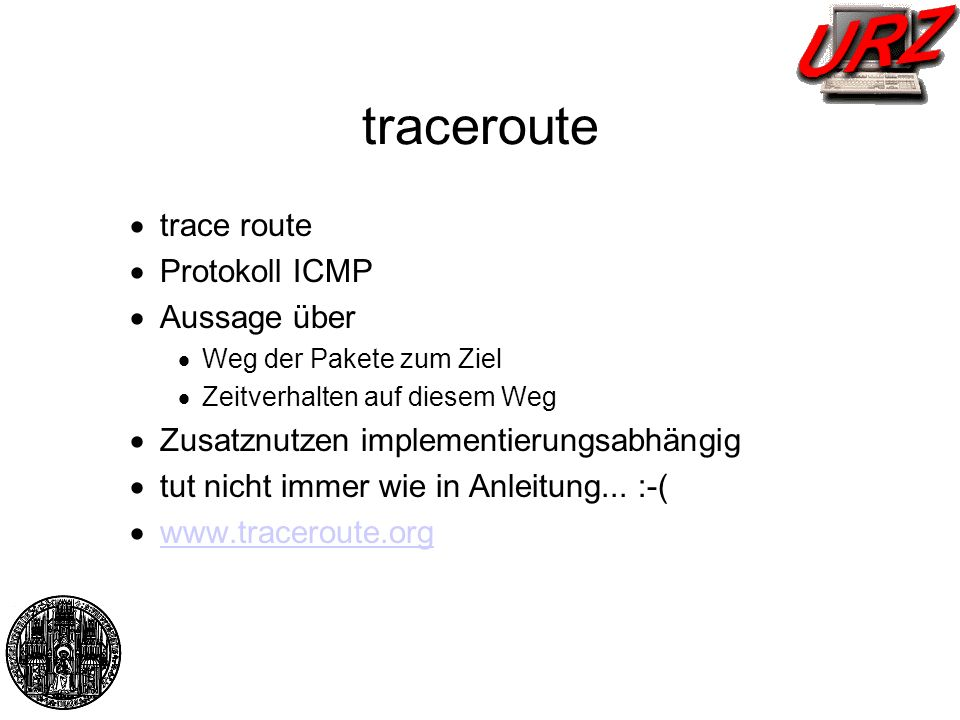 traceroute trace route Protokoll ICMP Aussage über