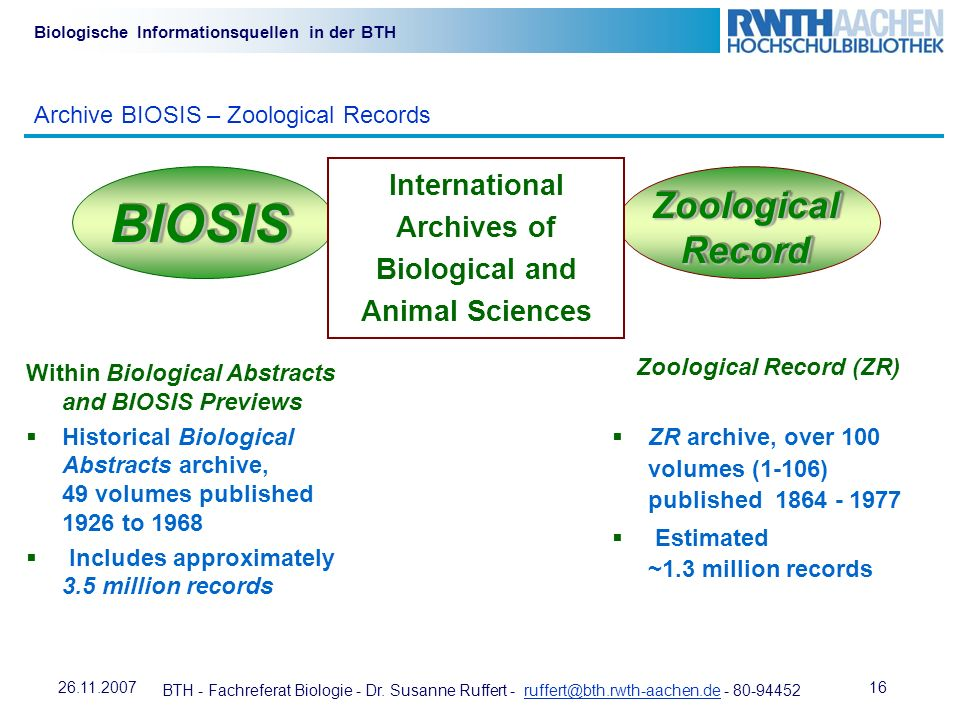 BIOSIS Zoological Record