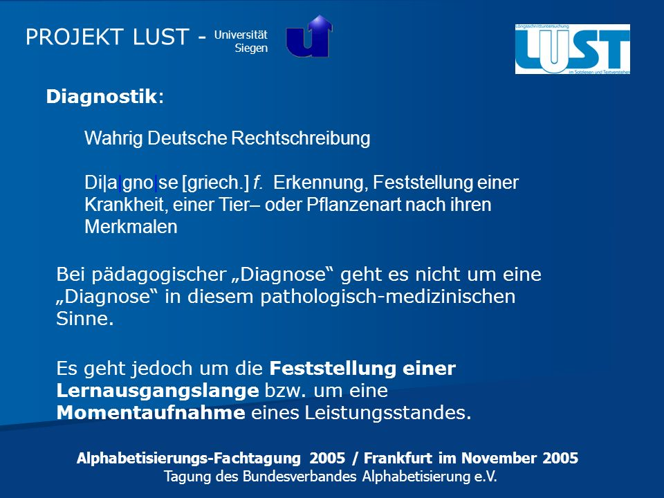 PROJEKT LUST - Diagnostik: