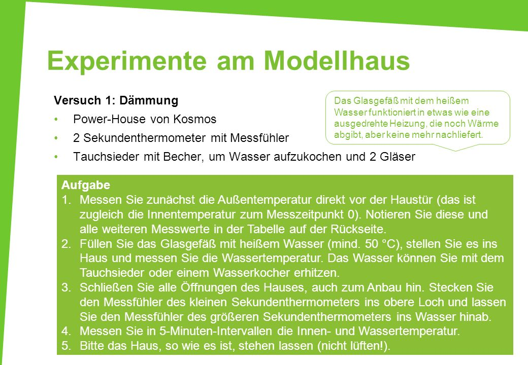 Experimente am Modellhaus