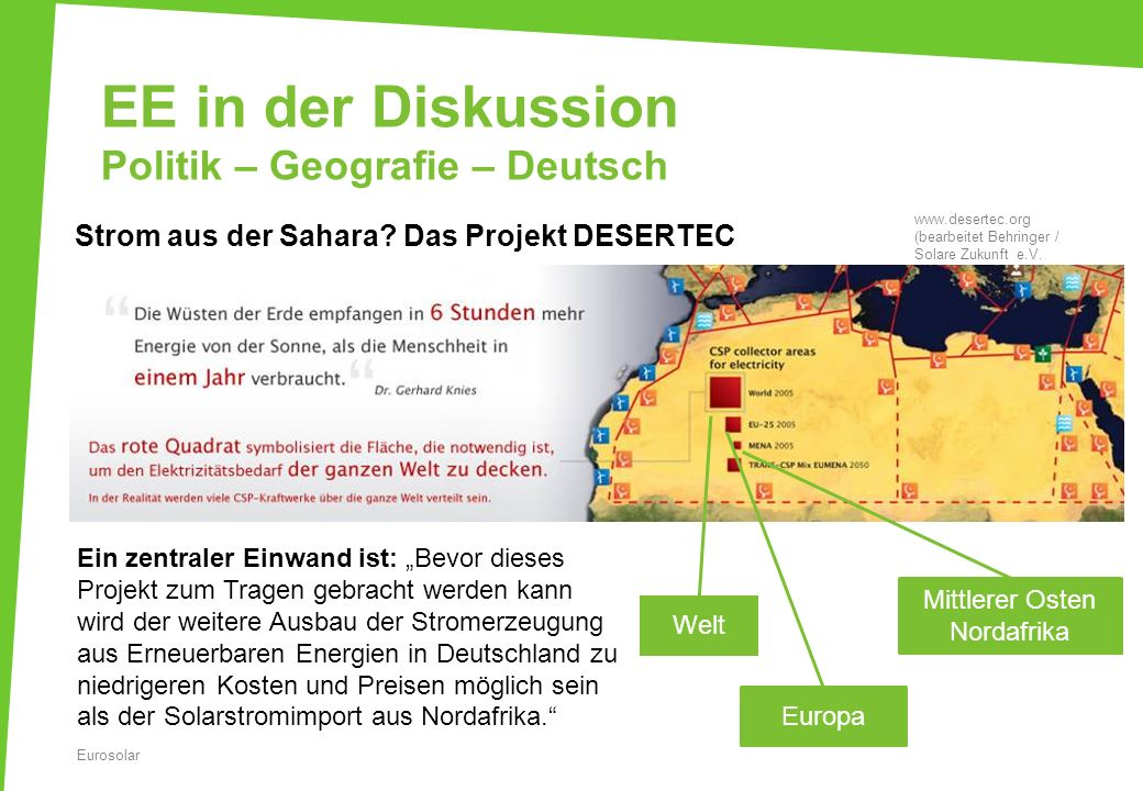 EE in der Diskussion Politik – Geografie – Deutsch