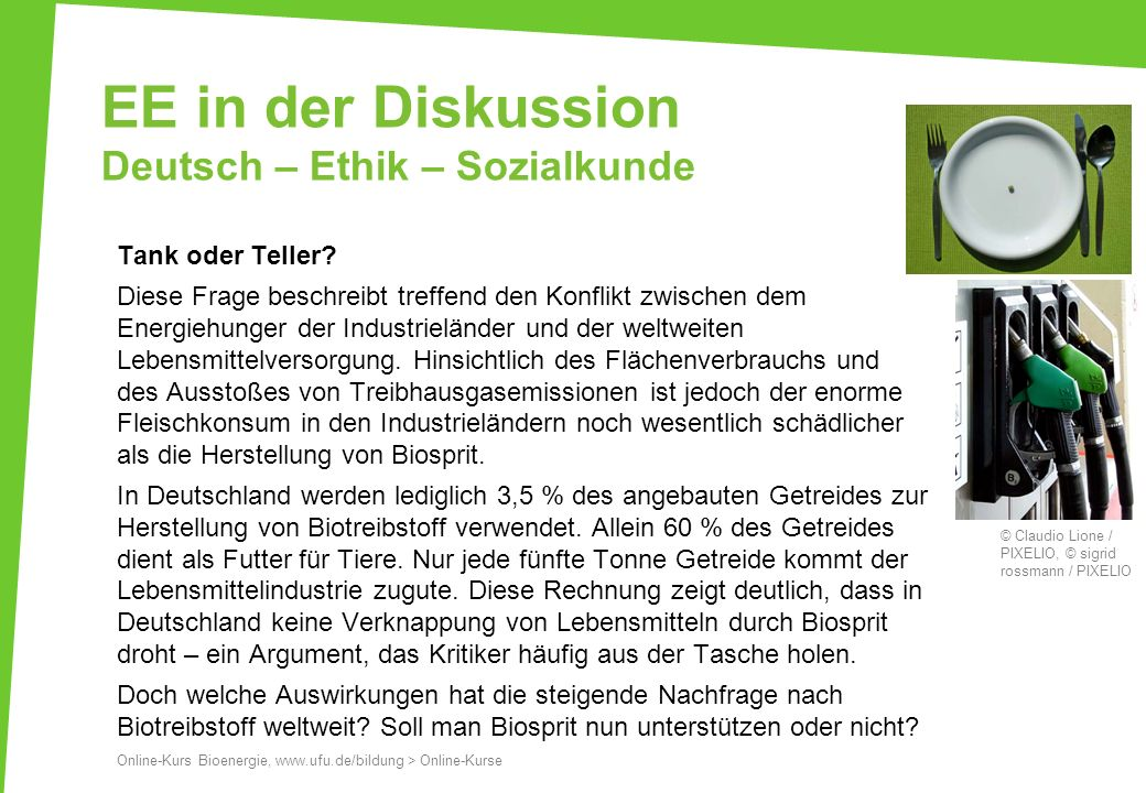 EE in der Diskussion Deutsch – Ethik – Sozialkunde