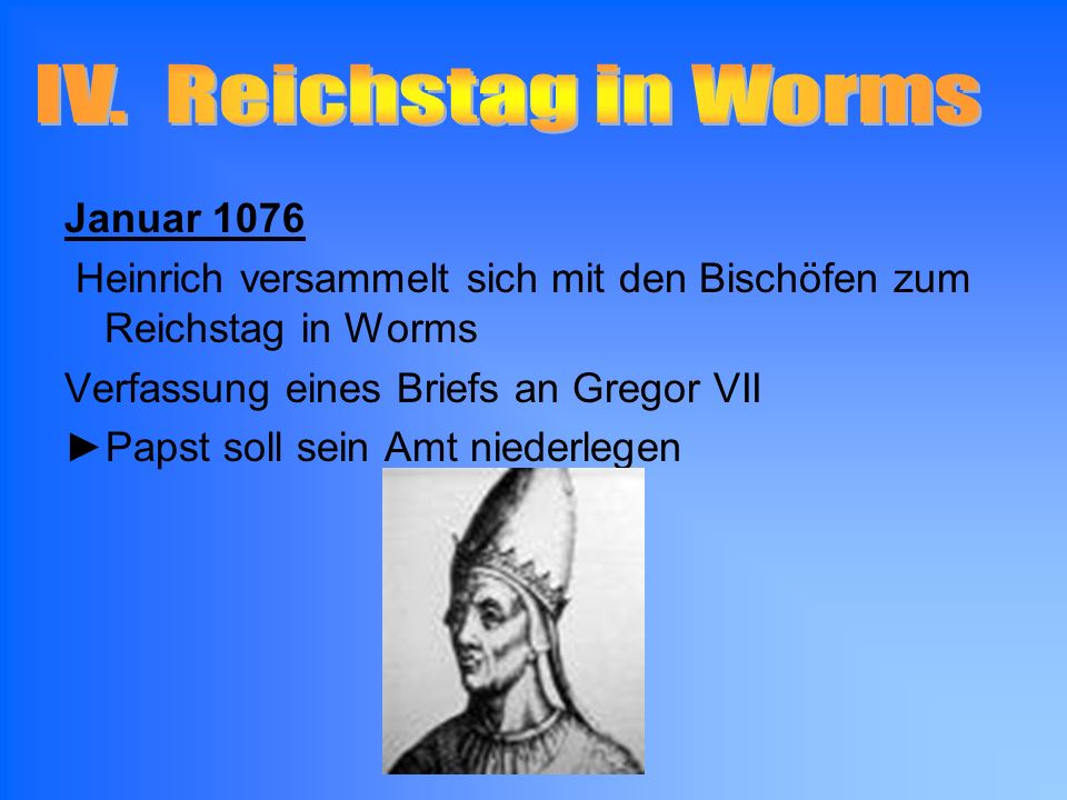 IV. Reichstag in Worms Januar 1076