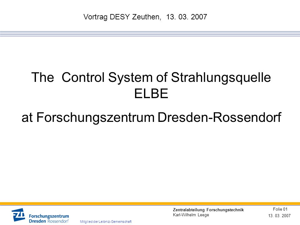 The Control System of Strahlungsquelle ELBE