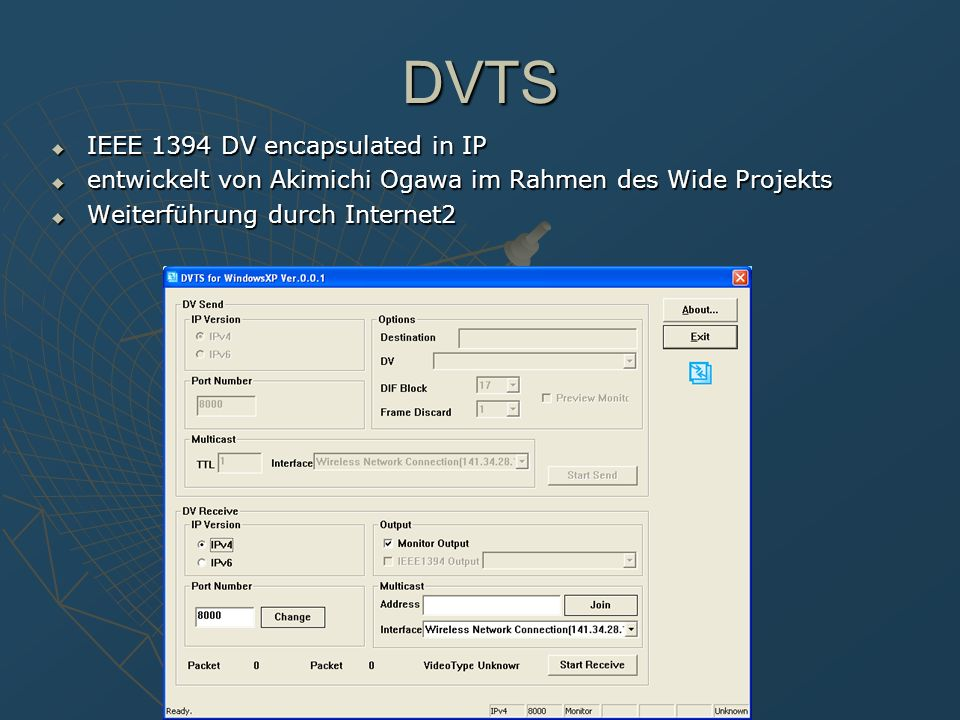 DVTS IEEE 1394 DV encapsulated in IP