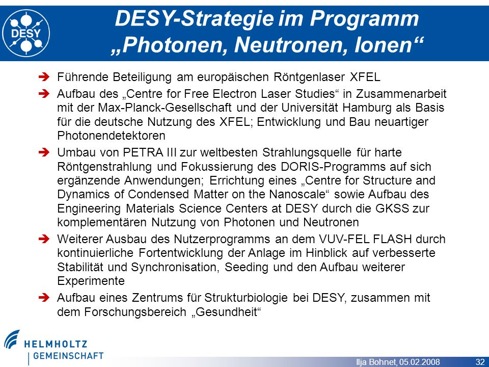 "DESY-Strategie im Programm ""Photonen, Neutronen, Ionen"