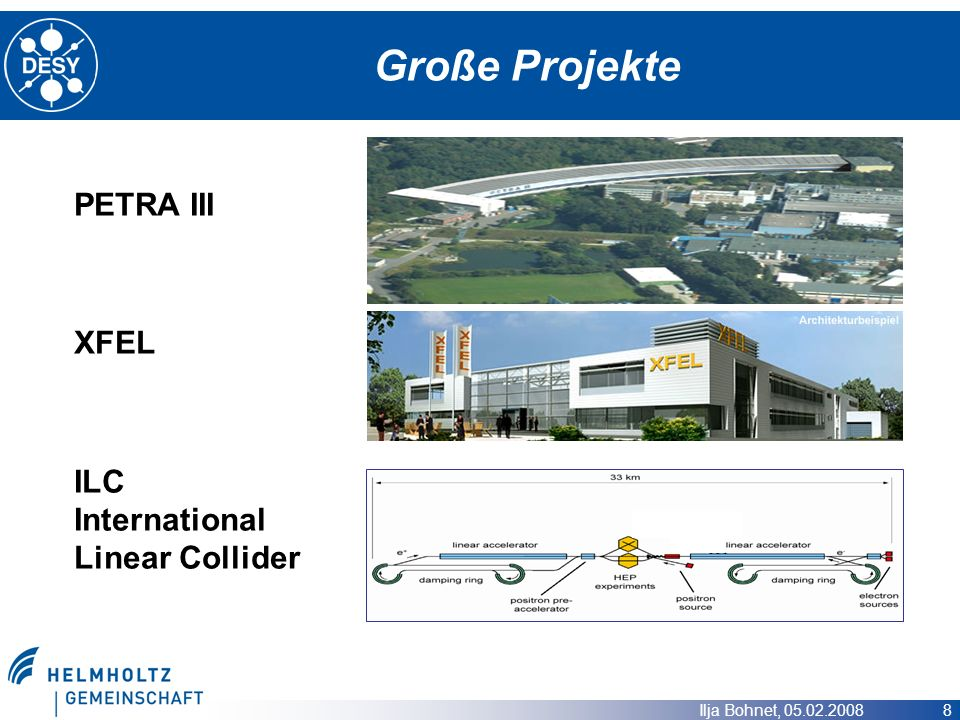 Große Projekte PETRA III XFEL ILC International Linear Collider