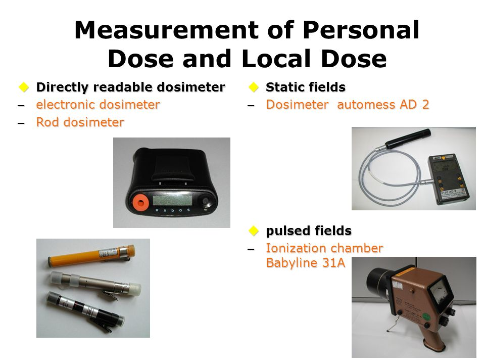 Measurement of Personal Dose and Local Dose