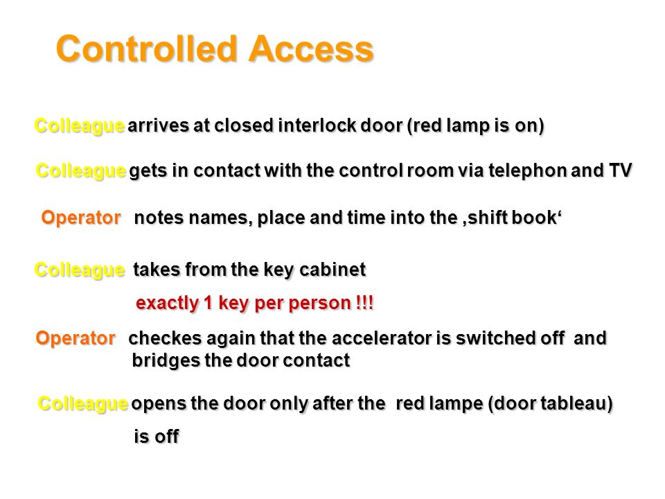 Controlled Access Colleague arrives at closed interlock door (red lamp is on) Colleague gets in contact with the control room via telephon and TV.