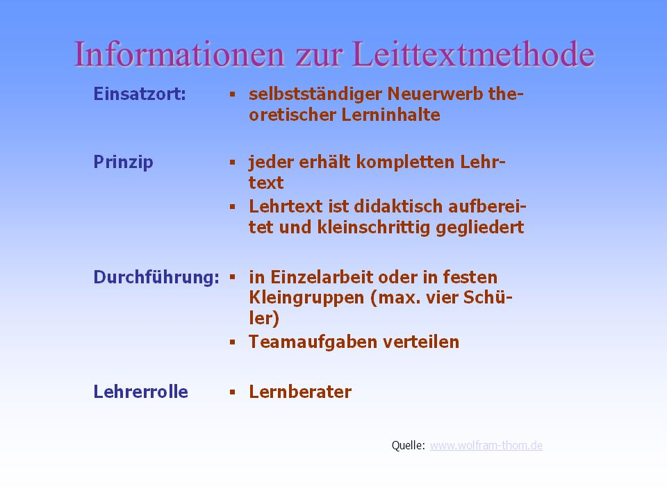 Informationen zur Leittextmethode
