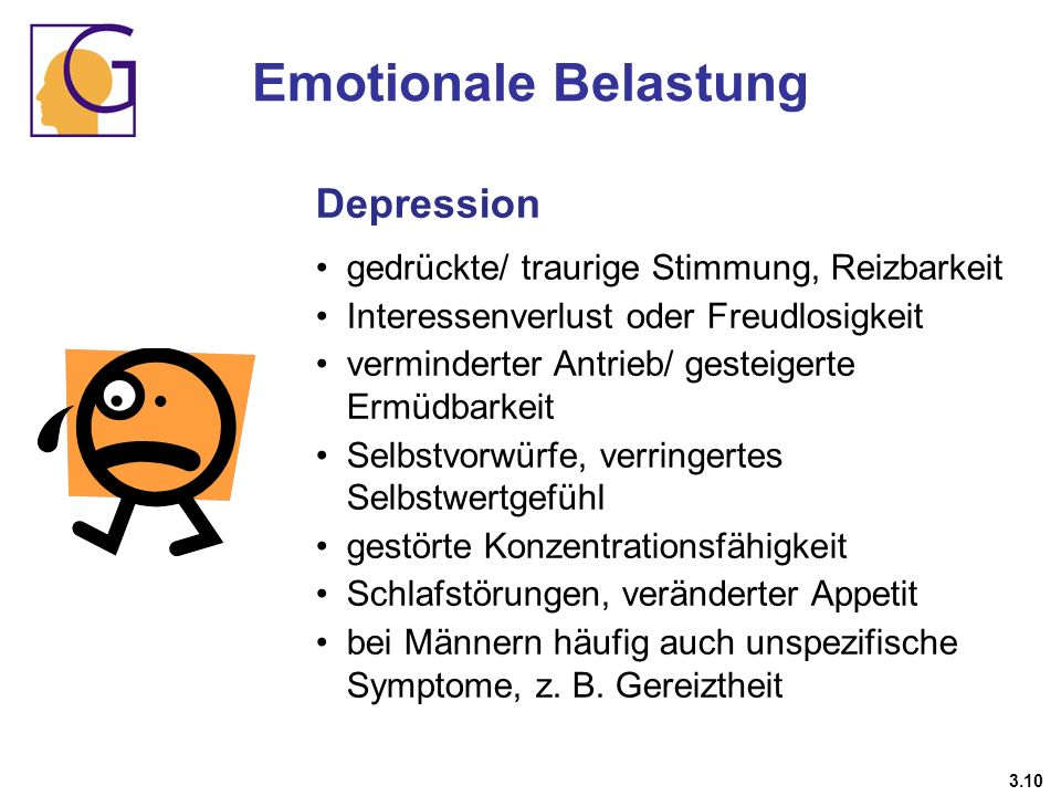 Emotionale Belastung Depression