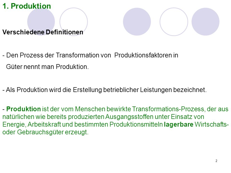 1. Produktion Verschiedene Definitionen