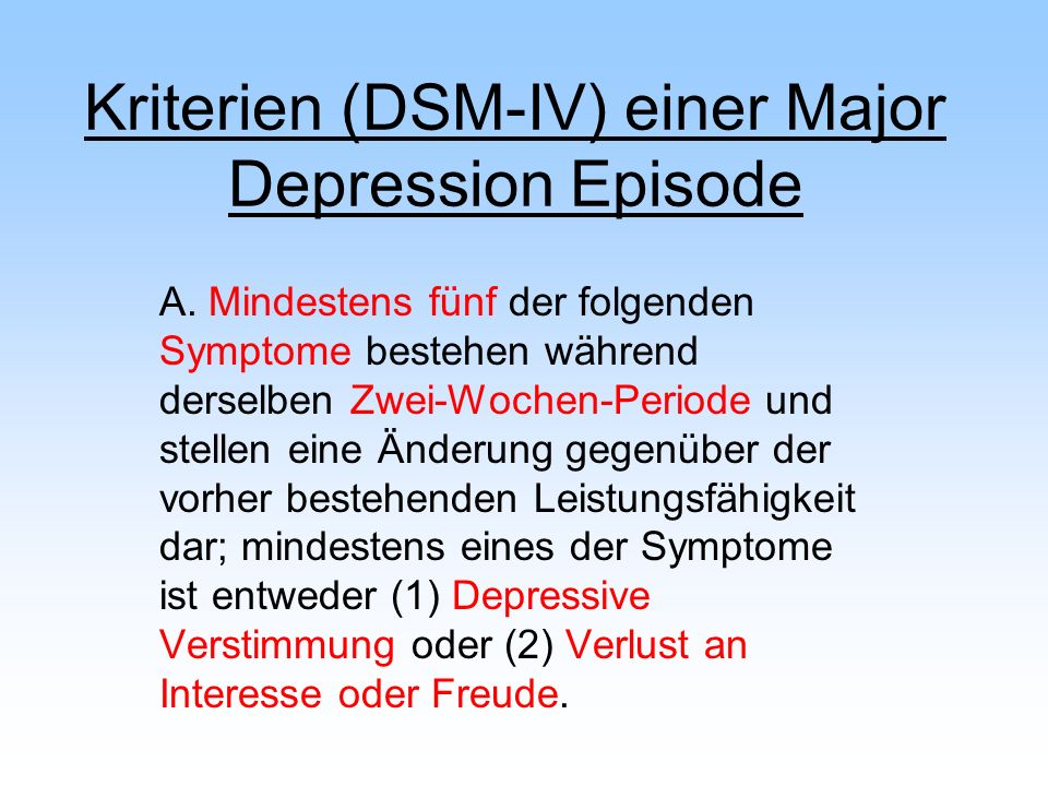 Kriterien (DSM-IV) einer Major Depression Episode